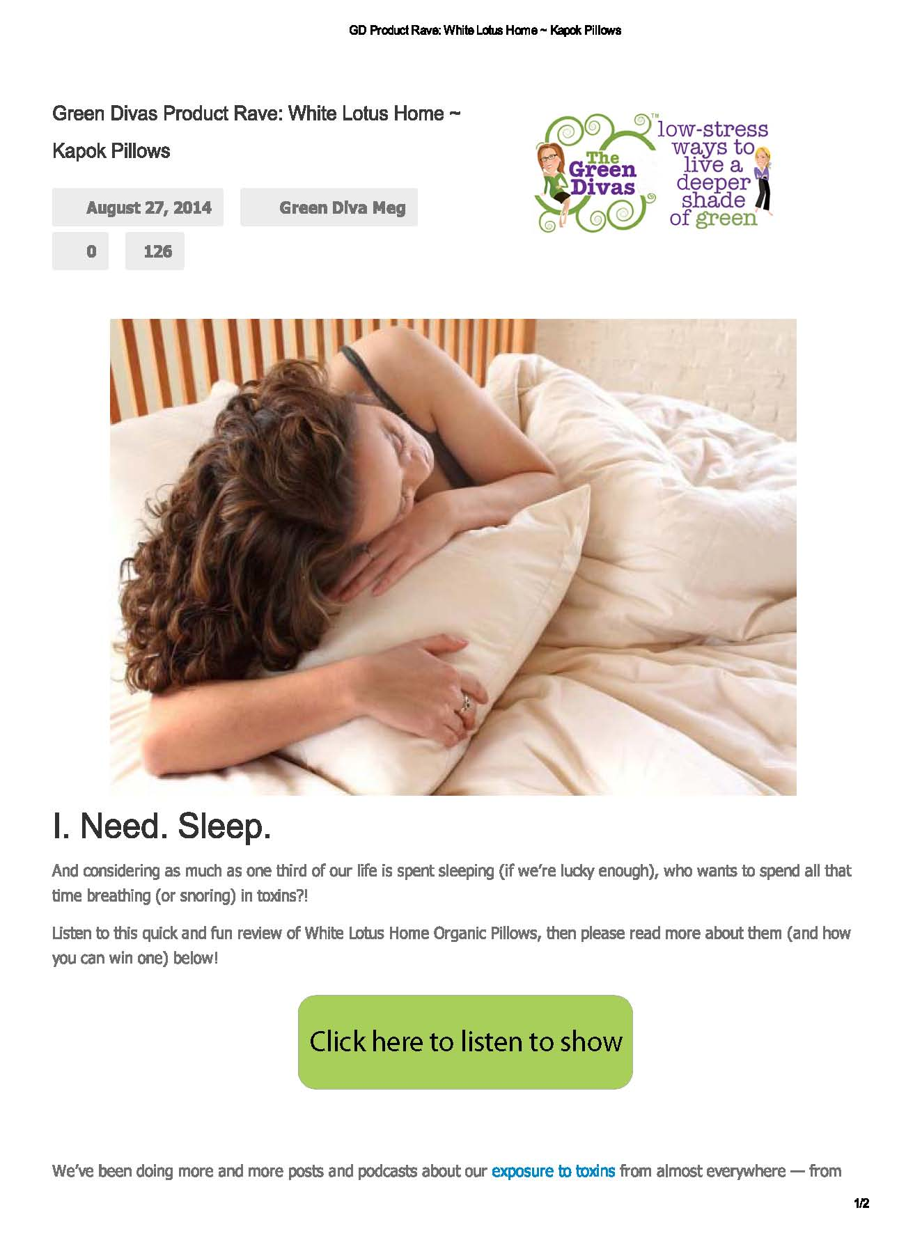 Green Divas Product Review Kapok Pillows August 27, 2014
